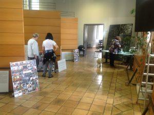 durante l'allestimento della mostra che si inaugura oggi 31 maggio per chiudersi il 2 giugno