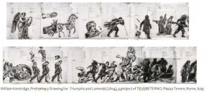 Particolari dei grffiti di William Kentridge