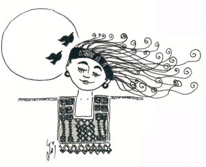 un disegno di Amal Kaawash per www.femminilepalestinese.it