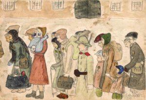 disegno di Helga Weissova bambina sopravvissutaa-Terezin.